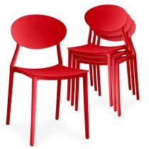 "Lot de 4 Chaises Design ""Tojal"" 81cm Rouge"