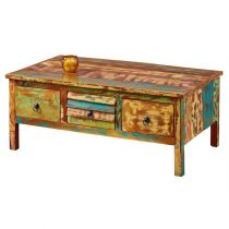 "Table Basse en Bois Recyclé ""Alta"" 110cm Multicolore"