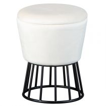 "Pouf Coffre Design en Velours ""Nat"" 42cm Blanc"