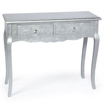 "Console Baroque 2 Tiroirs ""Odalys"" 90cm Argent"
