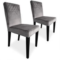 "Lot de 2 Chaises Velours ""Pipam"" 82cm Gris"
