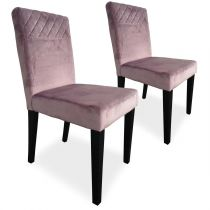 "Lot de 2 Chaises Velours ""Pipam"" 82cm Rose"