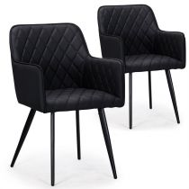 "Lot de 2 chaises Design en Simili ""Claren"" 86cm Noir"
