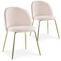"Lot de 2 Chaises Design en Velours ""Lia"" 79cm Rose"