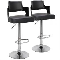 "Lot de 2 Chaises de Bar ""Paddington"" 110cm Noir"