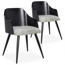 "Lot de 2 Chaises Scandinaves ""Adny"" 73cm Noir & Gris"