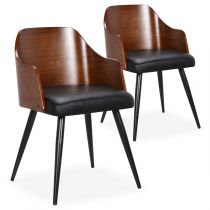 "Lot de 2 Chaises Scandinave ""Adny"" 73cm Naturel & Noir"