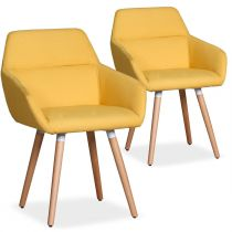 "Lot de 2 Fauteuils Scandinaves ""Dorcy"" 82cm Jaune"