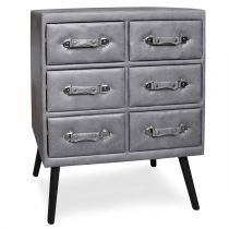 "Commode 6 Tiroirs en Simili ""Strano"" 85cm Gris"