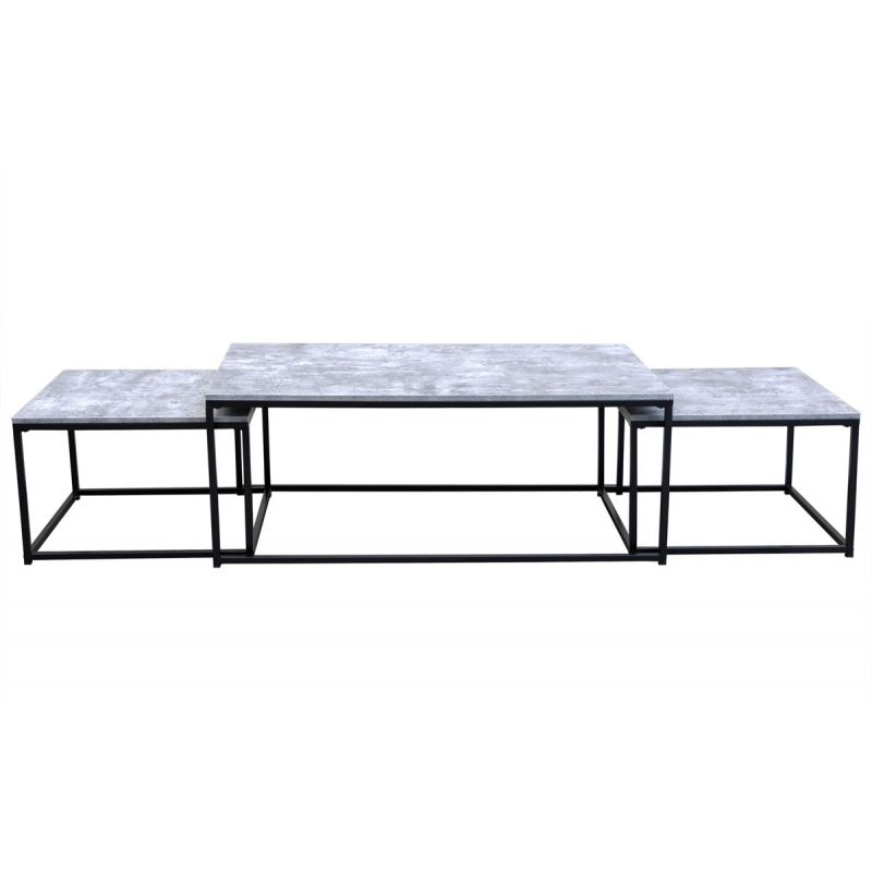 120cm Tfjlc1k3 3 Gris Féline Lot Tables De Clair Basses Gigognes 1KJTclF3