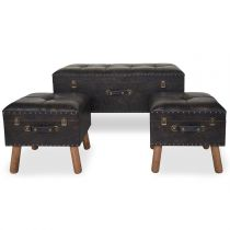 "Lot de 3 Tabourets Coffres ""Nevada"" 90cm Marron"