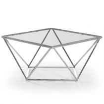 "Table Basse Design en Verre ""Luna"" 80cm Argent"