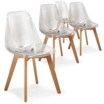 "Lot de 4 Chaises Design ""Beal"" 80cm Transparent"