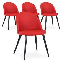 "Lot de 4 Chaises Design Simili ""Morro"" 75cm Rouge"