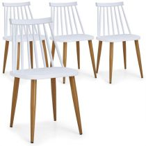 "Lot de 4 Chaises Scandinaves ""Estelle"" 77cm Blanc"