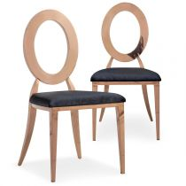 "Lot de 2 Chaises en Métal Design ""Sorel"" 97cm Noir & Or Rose"