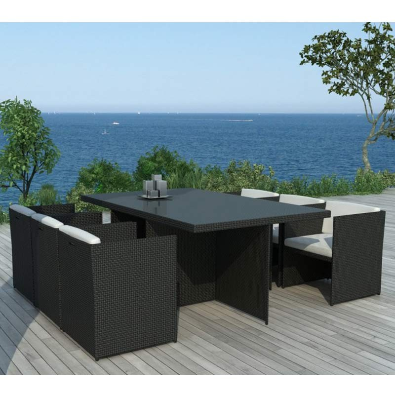 table chaises de jardin en r sine florence noir acier. Black Bedroom Furniture Sets. Home Design Ideas