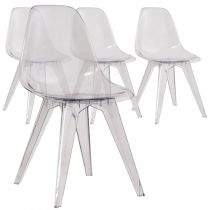 "Lot de 4 Chaises Design ""Carence"" 82cm Transparent"