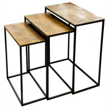 "Lot de 3 Tables d'Appoint Gigognes ""Step"" 65cm Or"