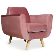"Fauteuil Scandinave Velours ""Budapest"" 81cm Rose"