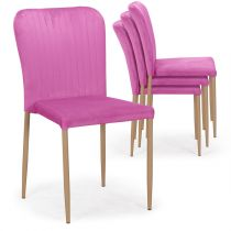 "Lot de 4 Chaises en Velours ""Moody"" 87cm Rose"