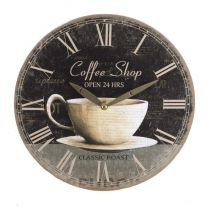 "Pendule 28cm ""Coffee Shop"" Noir"