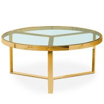 "Table Basse Design en Verre ""Faren"" 90cm Or"