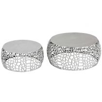"Lot de 2 Tables Basses Métal ""Yebo"" 73cm Argent"