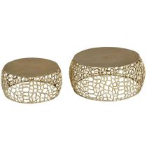 "Lot de 2 Tables Basses Métal ""Yebo"" 73cm Or"