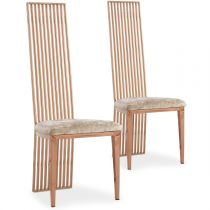 "Lot de 2 Chaises Design Velours ""Zak"" 119cm Or Rose"