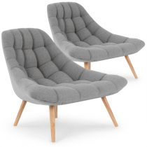 "Lot de 2 Fauteuils Scandinaves ""Johan"" 86cm Gris"