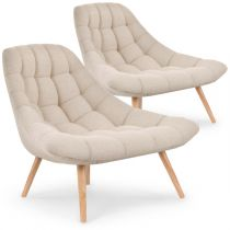 "Lot de 2 Fauteuils Scandinaves ""Johan"" 86cm Beige"
