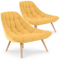 "Lot de 2 Fauteuils Scandinaves ""Johan"" 86cm Jaune"