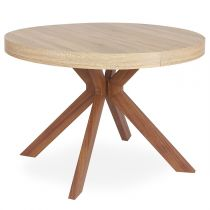 "Table Ronde Extensible ""Zefane"" 160-260cm Naturel"