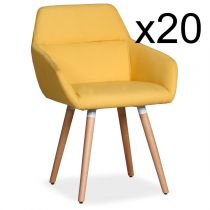 "Lot de 20 Fauteuils Scandinaves ""Dorcy"" 82cm Jaune"