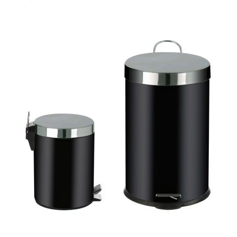 2 poubelles 20l 5l inox noir. Black Bedroom Furniture Sets. Home Design Ideas