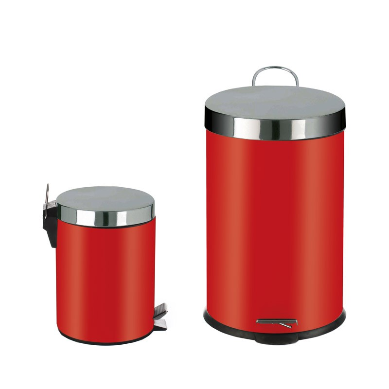 2 poubelles 20l 5l inox rouge. Black Bedroom Furniture Sets. Home Design Ideas