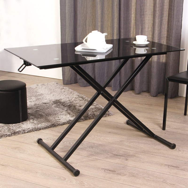 table en verre up and down. Black Bedroom Furniture Sets. Home Design Ideas