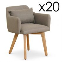 "Lot de 20 Fauteuils Design ""Scanda"" 70cm Taupe"