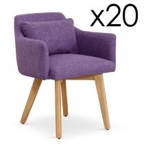 "Lot de 20 Fauteuils Design ""Scanda"" 70cm Violet"