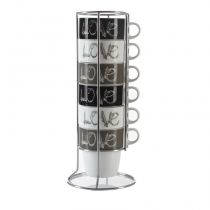 "Set de 6 Mugs Avec Rack 260ml ""Love"" Beige"