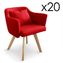 "Lot de 20 Fauteuils Design ""Delante"" 67cm Rouge"
