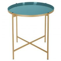 "Table d'Appoint ""Kylian"" 48cm Or & Bleu Vert"