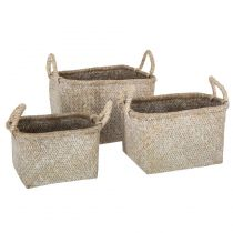 "Lot de 3 Paniers à Anses ""Seagrass"" 37cm Naturel"