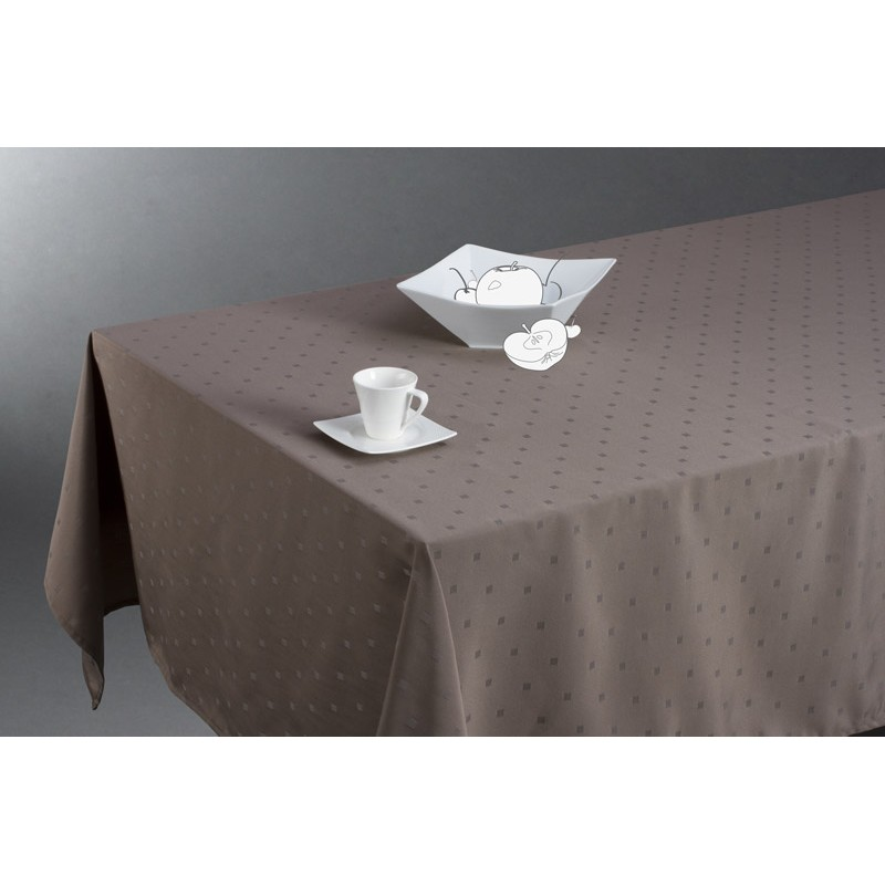 Nappe anti t ches jacquard carr 140x240cm taupe for Nappe de table carre