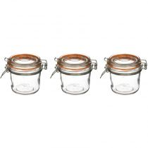 "Lot de 3 Pots en Verre ""Terrine"" 325mL Transparent"