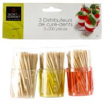 "Lot de 3 Pots à Cure-Dents ""Pick"" 14cm Multicolore"