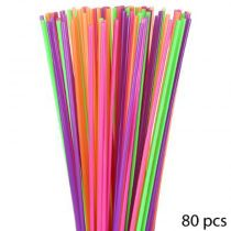 "Lot de 80 Pailles ""Jumbo"" 75cm Multicolore"