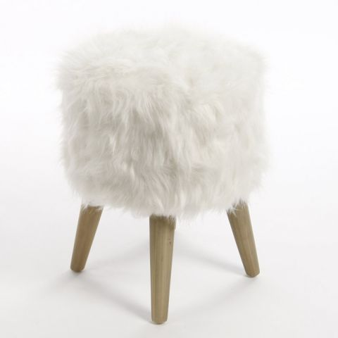 Pouf fourrure blanc paris for La maison du tabouret