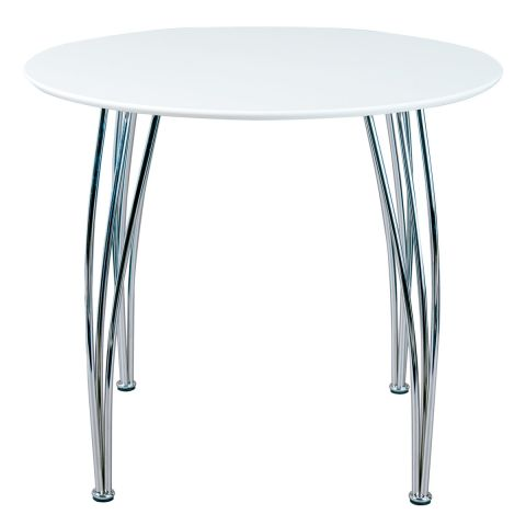 "Table de Repas Design Ronde ""Adam"" 100cm Blanc"